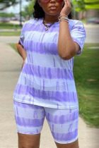 purple Polyester Fashion Sexy adult Ma'am Striped Print Two Piece Suits pencil Short Sleeve Two Pieces