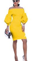 Yellow Fashion Off The Shoulder lantern sleeve 3/4 Length Sleeves One word collar Slim Dress Knee-Length So