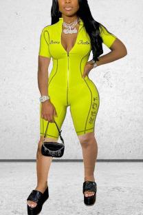 Yellow Fashion street Print zipper Polyester Short Sleeve O Neck Jumpsuits