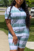 Green Polyester Fashion Sexy adult Ma'am Striped Print Two Piece Suits pencil Short Sleeve Two Pieces