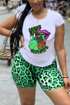 Light Green Polyester Fashion Casual adult Ma'am Leopard Print Two Piece Suits pencil Short Sleeve Two Pieces