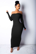 Black Fashion Sexy Off The Shoulder Long Sleeves One word collar Pencil Dress Mid-Calf backless  Club Dres