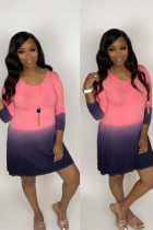 Pink Polyester Sexy Cap Sleeve Long Sleeves O neck Straight Knee-Length Print  Long Sleeve Dresses