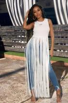 White Polyester Sexy Fashion Tank Sleeveless O neck Asymmetrical Ankle-Length Character Solid asymmetrical
