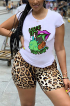 Light Brown Polyester Fashion Casual adult Ma'am Leopard Print Two Piece Suits pencil Short Sleeve Two Pieces