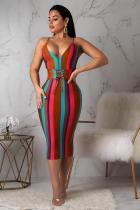Multi-color Polyester Casual Fashion Spaghetti Strap Sleeveless Slip Sheath Hip skirt Striped bandage  Casual Dr