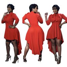 Red Vintage 3/4 Length Sleeves Asymmetrical Mid-Calf  Club Dresses