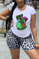 Light Gray Polyester Fashion Casual adult Ma'am Leopard Print Two Piece Suits pencil Short Sleeve Two Pieces