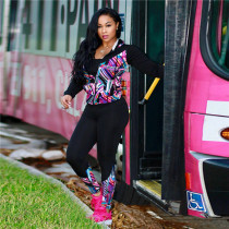 Pink Button Fly Mid Graffiti Print Straight Pants  Two-piece suit
