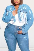 Light Blue Denim Fashion adult Ma'am Street Turndown Collar Solid Hole washing Tassel Plus Size