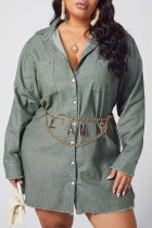 Green Denim Fashion Work Turndown Collar Solid Plus Size