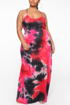 Red Polyester Fashion Sexy adult Slip Patchwork Print backless Tie Dye Stitching Plus Size