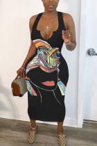 Black OL White Sleeveless V Neck Step Skirt Mid-Calf Print Dresses