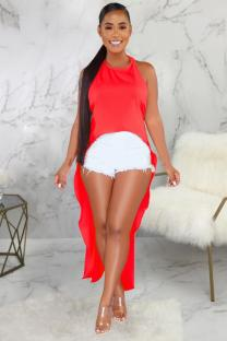 tangerine Polyester Vintage adult Fashion Tank Sleeveless Slip Asymmetrical Ankle-Length chain backless Patchw