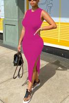 Pink Fashion adult Ma'am OL Black Pink purple Tank Sleeveless O neck Step Skirt Mid-Calf Solid Dresses