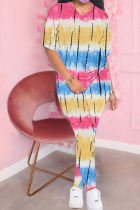 blue and yellow Polyester Fashion Casual adult Ma'am Print Tie Dye Two Piece Suits pencil Short Sleeve Two Pieces