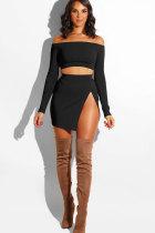 Black Sexy Fashion Off The Shoulder Long Sleeves One word collar Asymmetrical Mini chain Print asymmetrica
