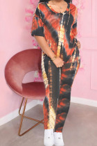 Black and red Polyester Fashion Casual adult Ma'am Print Tie Dye Two Piece Suits pencil Short Sleeve Two Pieces