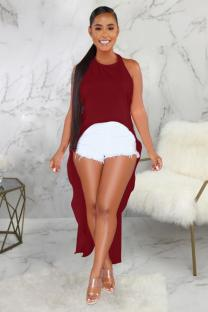 Wine Red Polyester Vintage adult Fashion Tank Sleeveless Slip Asymmetrical Ankle-Length chain backless Patchw