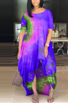purple Milk. Fashion adult Ma'am Street Cap Sleeve Short Sleeves O neck Princess Dress Floor-Length Print Tie and dye asymmetrical Dresses