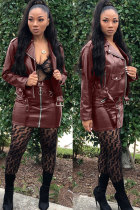 Wine Red Sexy Fashion Cap Sleeve Long Sleeves Turndown Collar Hip skirt Mini PU Patchwork chain Two Piece Dr