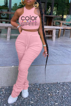 Pink Milk Silk Active Letter Print Solid Straight Short Sleeve Two Pieces