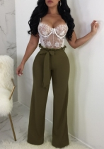 Army Green Fashion Solid Flat Wide Leg Pants Midweight Pants