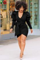 Black Polyester Sexy Fashion lantern sleeve Long Sleeves V Neck Sheath Asymmetrical Mini bandage stringy s