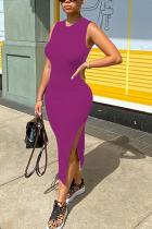 purple Fashion adult Ma'am OL Black Pink purple Tank Sleeveless O neck Step Skirt Mid-Calf Solid Dresses