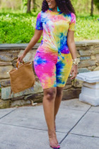 Yellow Spandex Fashion Casual adult Ma'am Print Tie Dye Two Piece Suits Straight Short Sleeve Two Pieces