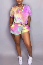rose red Polyester Fashion Casual adult Ma'am Tie Dye Two Piece Suits Straight Short Sleeve Two Pieces