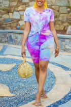 purple Spandex Fashion Casual adult Ma'am Print Tie Dye Two Piece Suits Straight Short Sleeve Two Pieces