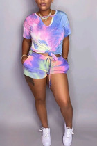 purple Polyester Fashion Casual adult Ma'am Tie Dye Two Piece Suits Straight Short Sleeve Two Pieces