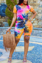 Orange Spandex Fashion Casual adult Ma'am Print Tie Dye Two Piece Suits Straight Short Sleeve Two Pieces