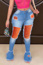 Orange Yellow Light Blue Denim Button Fly Mid Patchwork Hole washing Old Boot Cut Pants Bottoms