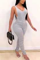 Grey Fashion Sexy Backless Solid Draped Cotton Sleeveless V Neck Jumpsuits