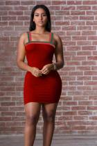 Wine Red Polyester Sexy Fashion Spaghetti Strap Sleeveless Slip Pencil Dress Mini Patchwork Solid  Club Dress
