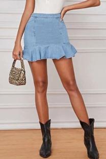 Blue Denim Zipper Fly Mid Solid ruffle Hip skirt shorts Bottoms