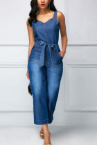 Dark Blue Fashion Sexy Solid The cowboy Sleeveless Slip Jumpsuits