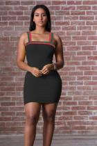 Black Polyester Sexy Fashion Spaghetti Strap Sleeveless Slip Pencil Dress Mini Patchwork Solid  Club Dress