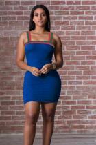 Blue Polyester Sexy Fashion Spaghetti Strap Sleeveless Slip Pencil Dress Mini Patchwork Solid  Club Dress