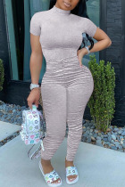 Grey Fashion Casual Solid Draped Polyester Short Sleeve O Neck Jumpsuits