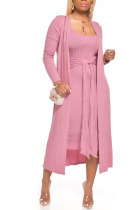 Pink Milk Silk Sexy Patchwork Solid Bandage pencil Long Sleeve Two Pieces