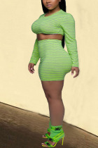 Green knit Sexy Striped Print Skinny Long Sleeve Two Pieces