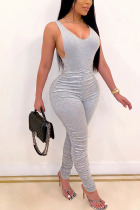Grey Fashion Sexy adult Ma'am Solid Two Piece Suits pencil Sleeveless Two Pieces