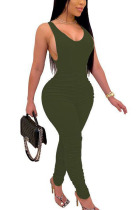 Green Fashion Sexy adult Ma'am Solid Two Piece Suits pencil Sleeveless Two Pieces