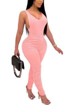 Pink Fashion Sexy adult Ma'am Solid Two Piece Suits pencil Sleeveless Two Pieces
