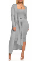 Grey Milk Silk Sexy Patchwork Solid Bandage pencil Long Sleeve Two Pieces