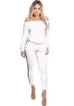 White Plain Mid Waist Elastic Waist Two-piece suit