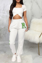 White Cotton Drawstring Mid Print Character Straight Pants Bottoms